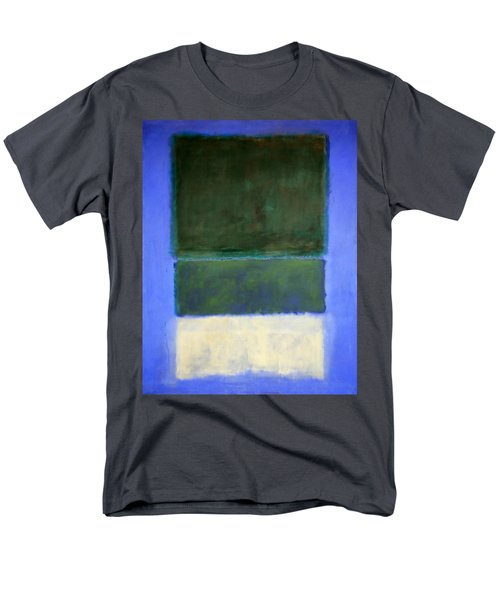 Rothko's No. 14 -- White And Greens In Blue Men's T-Shirt  (Regular Fit) by Cora Wandel
