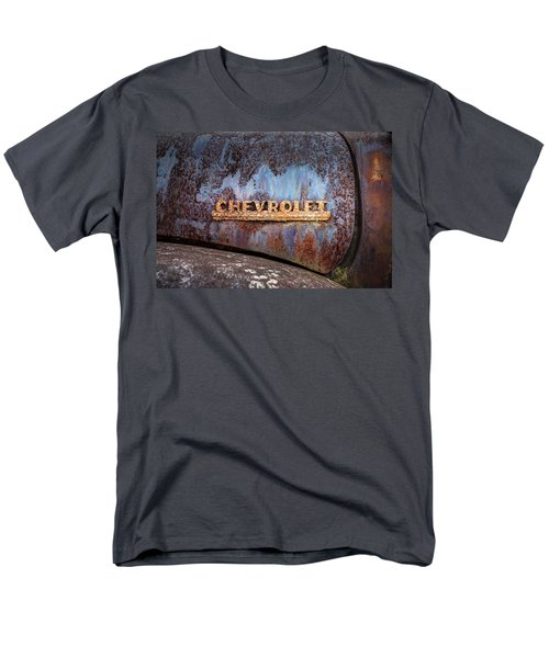 Men's T-Shirt  (Regular Fit) featuring the photograph Rusty Chevrolet - Nameplate - Old Chevy Sign by Gary Heller