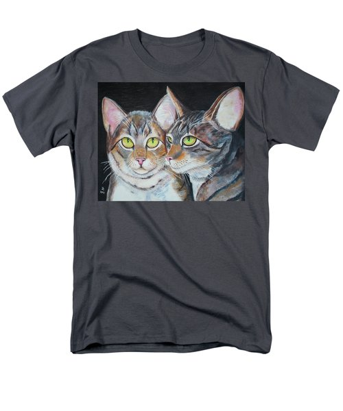 Men's T-Shirt  (Regular Fit) featuring the painting Scheming Cats by Thomas J Herring