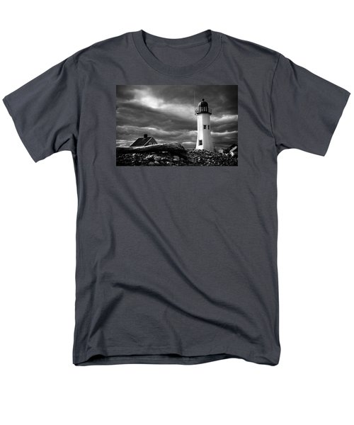 Scituate Lighthouse Under A Stormy Sky Men's T-Shirt  (Regular Fit) by Jeff Folger