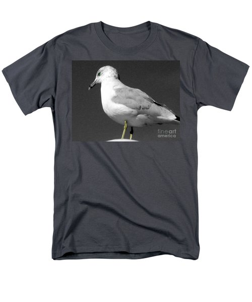 Men's T-Shirt  (Regular Fit) featuring the photograph Seagull In Black And White by Nina Silver