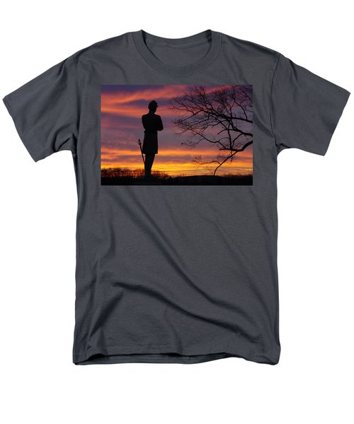 Men's T-Shirt  (Regular Fit) featuring the photograph Sky Fire - 124th Ny Infantry Orange Blossoms-1a Sickles Ave Devils Den Sunset Autumn Gettysburg by Michael Mazaika