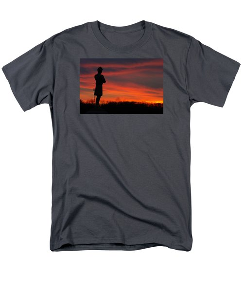 Men's T-Shirt  (Regular Fit) featuring the photograph Sky Fire - Aotp 124th Ny Infantry Orange Blossoms-2a Sickles Ave Devils Den Sunset Autumn Gettysburg by Michael Mazaika
