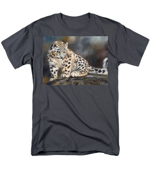 Snow Leopard Cub Men's T-Shirt  (Regular Fit) by David Stribbling