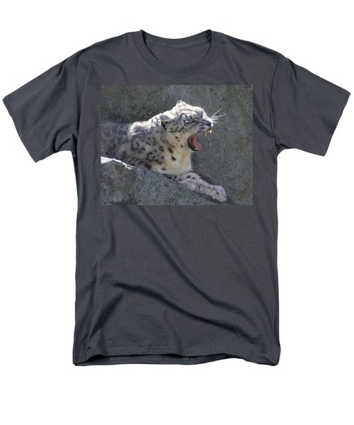 Men's T-Shirt  (Regular Fit) featuring the photograph Snow Leopard Yawn by Neal Eslinger