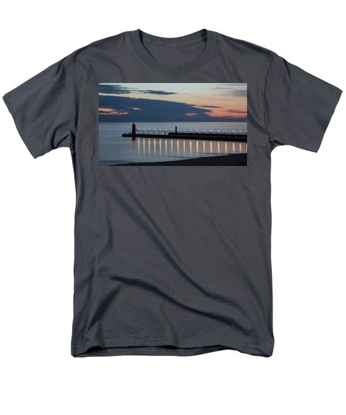 South Haven Michigan Lighthouse Men's T-Shirt  (Regular Fit) by Adam Romanowicz