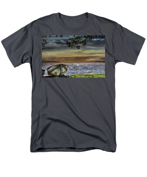 South Manistique Lake With Rowboat Men's T-Shirt  (Regular Fit) by Evie Carrier