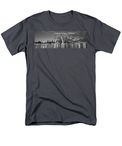 Men's T-Shirt  (Regular Fit) featuring the photograph St. Louis Skyline At Dusk Gateway Arch Black And White Bw Panorama Missouri by Jon Holiday