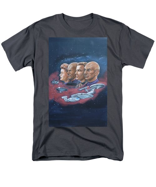 Men's T-Shirt  (Regular Fit) featuring the painting Star Trek Tribute Captains by Bryan Bustard
