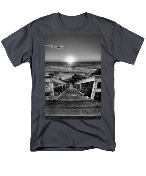 Steps To The Sun  Black And White Men's T-Shirt  (Regular Fit) by Peter Tellone
