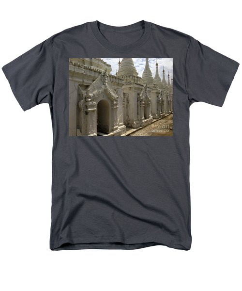 Men's T-Shirt  (Regular Fit) featuring the photograph Stupas With Buddhist Inscription Slabs Sandamuni Pagoda Mandalay Burma by Ralph A  Ledergerber-Photography