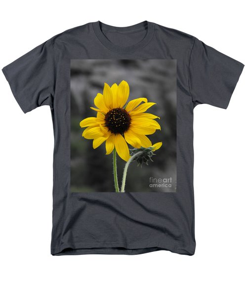 Men's T-Shirt  (Regular Fit) featuring the photograph Sunflower On Gray by Rebecca Margraf