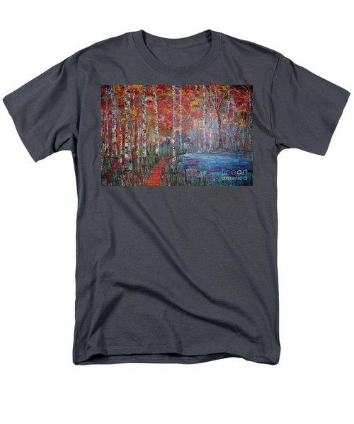 Sunlit Birch Pathway Men's T-Shirt  (Regular Fit) by Jacqueline Athmann