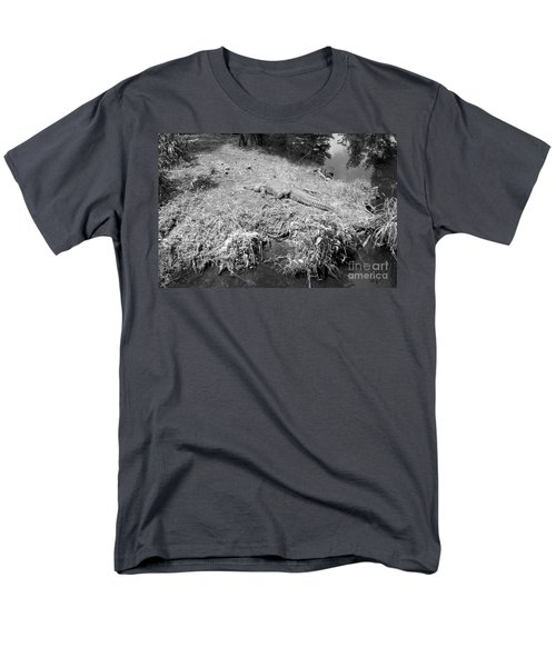 Men's T-Shirt  (Regular Fit) featuring the photograph Sunny Gator Black And White by Joseph Baril