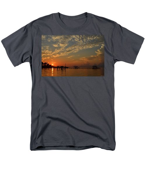 Sunrise Colors With Storms Building On Sound Men's T-Shirt  (Regular Fit) by Jeff at JSJ Photography