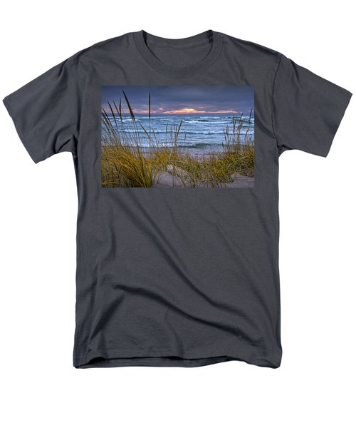 Sunset On The Beach At Lake Michigan With Dune Grass Men's T-Shirt  (Regular Fit) by Randall Nyhof