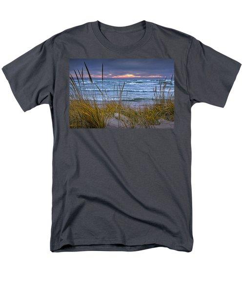 Sunset On The Beach At Lake Michigan With Dune Grass Men's T-Shirt  (Regular Fit)