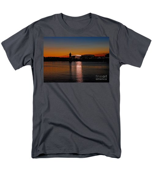 Men's T-Shirt  (Regular Fit) featuring the photograph Sunset On Paul Brown Stadium by Mary Carol Story