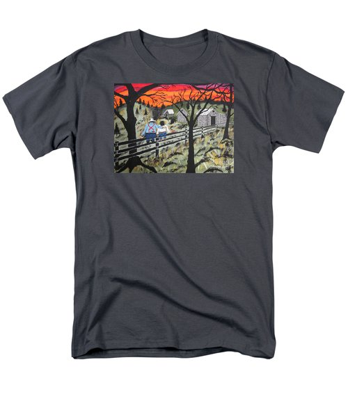 Men's T-Shirt  (Regular Fit) featuring the painting Sunset On The Fence by Jeffrey Koss