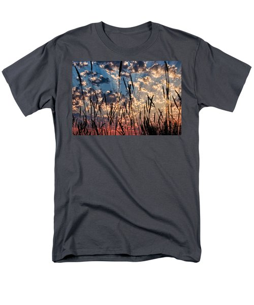 Men's T-Shirt  (Regular Fit) featuring the photograph Sunset Through The Grasses by Don Schwartz