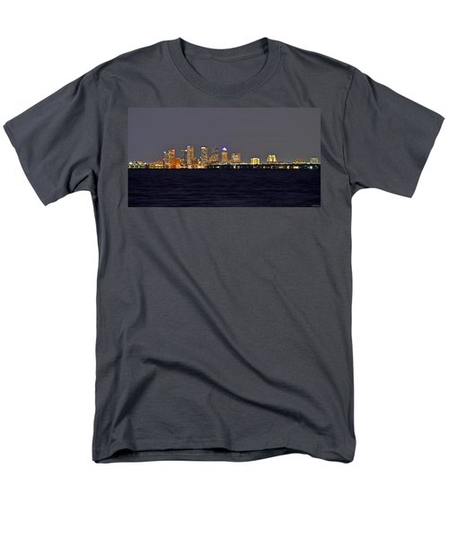 Men's T-Shirt  (Regular Fit) featuring the photograph Tampa City Skyline At Night 7 November 2012 by Jeff at JSJ Photography