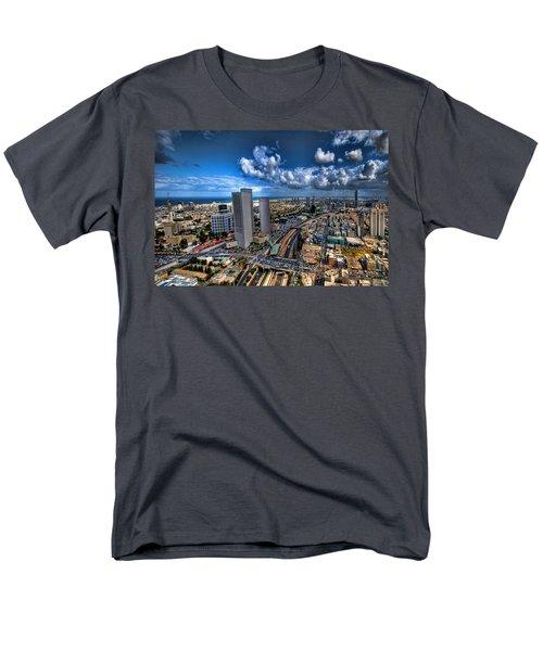 Tel Aviv Center Skyline Men's T-Shirt  (Regular Fit) by Ron Shoshani