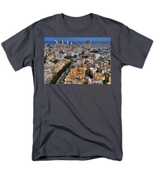 Men's T-Shirt  (Regular Fit) featuring the photograph Tel Aviv Eagle Eye View by Ron Shoshani