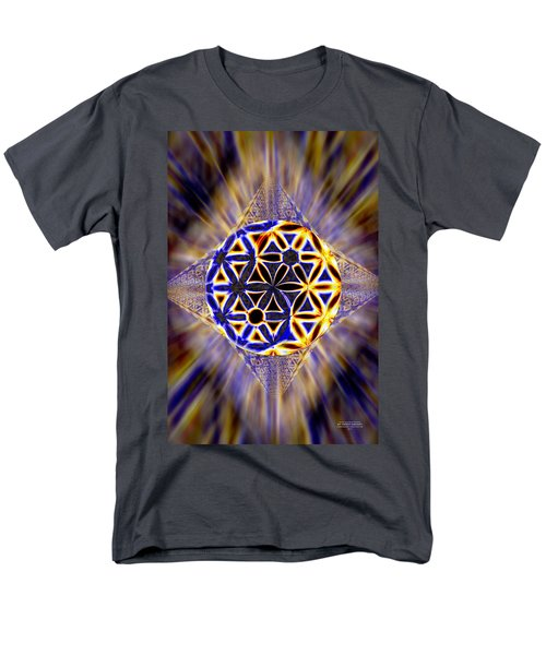 Men's T-Shirt  (Regular Fit) featuring the drawing Tetra Balance Crystal by Derek Gedney