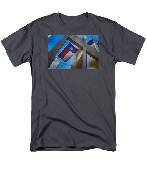 Men's T-Shirt  (Regular Fit) featuring the photograph Texas State Flag Downtown Dallas by Kathy Churchman
