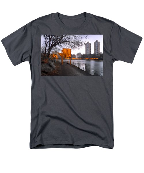 Men's T-Shirt  (Regular Fit) featuring the photograph The Gates - Central Park New York - Harlem Meer by Gary Heller