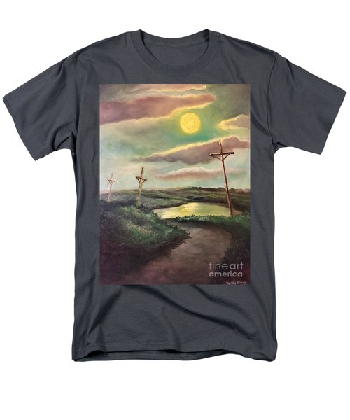 Men's T-Shirt  (Regular Fit) featuring the painting The Moon With Three Crosses by Randol Burns