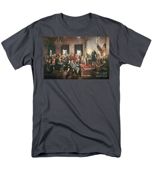 The Signing Of The Constitution Of The United States In 1787 Men's T-Shirt  (Regular Fit) by Howard Chandler Christy