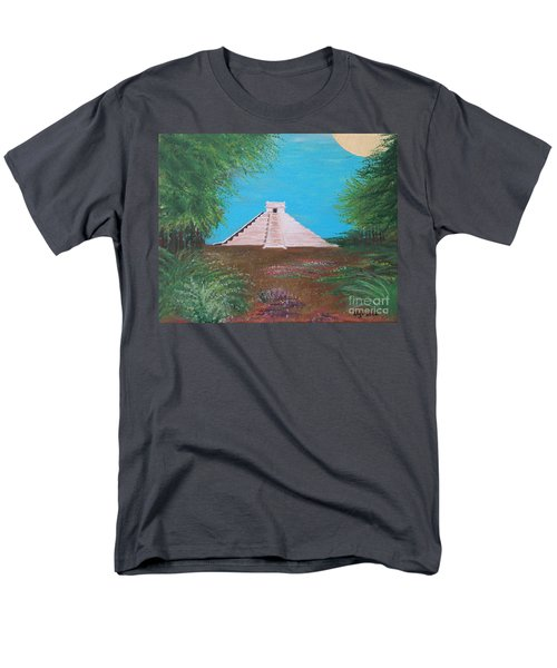 Men's T-Shirt  (Regular Fit) featuring the painting The Temple Of Kukulcan by Alys Caviness-Gober