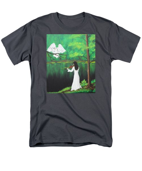 The Violinist By The River   Men's T-Shirt  (Regular Fit) by Patricia Olson