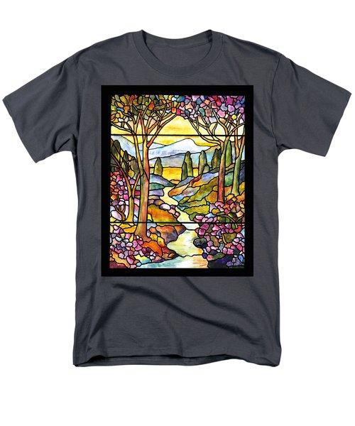 Tiffany Landscape Window Men's T-Shirt  (Regular Fit) by Donna Walsh
