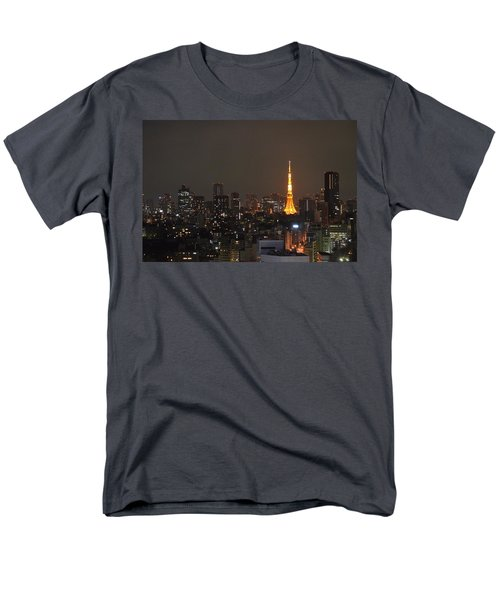 Tokyo Skyline At Night With Tokyo Tower Men's T-Shirt  (Regular Fit) by Jeff at JSJ Photography