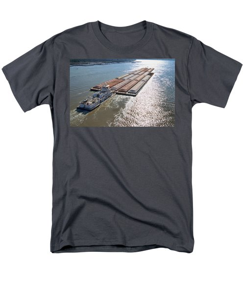Towboats And Barges On The Mississippi Men's T-Shirt  (Regular Fit) by Garry McMichael