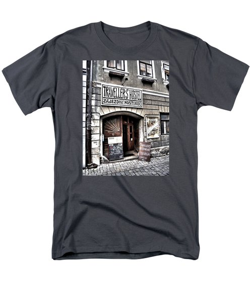 Men's T-Shirt  (Regular Fit) featuring the photograph Travellers Hostel - Cesky Krumlov by Juergen Weiss