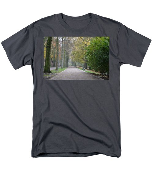 Men's T-Shirt  (Regular Fit) featuring the photograph Tree Lined Path In Fall Season Bruges Belgium by Imran Ahmed