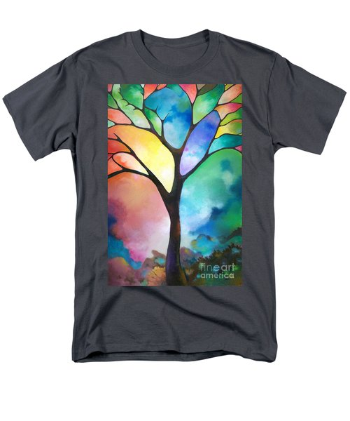 Original Art Abstract Art Acrylic Painting Tree Of Light By Sally Trace Fine Art Men's T-Shirt  (Regular Fit) by Sally Trace