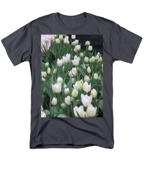 Tulip White Show Flower Butterfly Garden Men's T-Shirt  (Regular Fit) by Navin Joshi