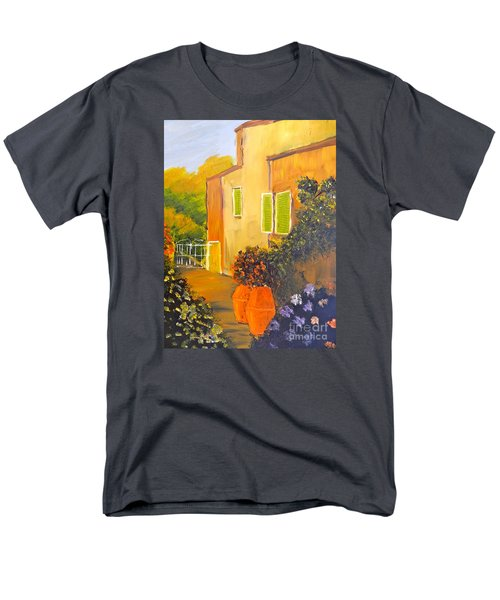 Men's T-Shirt  (Regular Fit) featuring the painting Tuscany Courtyard by Pamela  Meredith