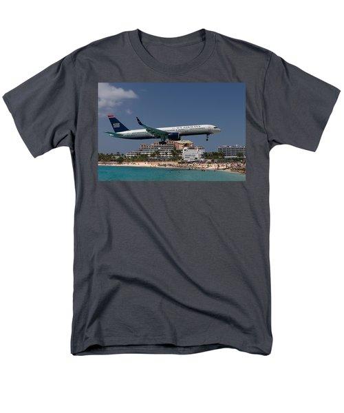 U S Airways At St Maarten Men's T-Shirt  (Regular Fit) by David Gleeson