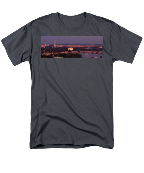 Usa, Washington Dc, Aerial, Night Men's T-Shirt  (Regular Fit) by Panoramic Images