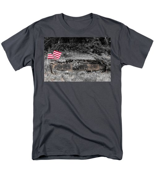 Men's T-Shirt  (Regular Fit) featuring the photograph Usmc Veteran Headstone by Sherman Perry