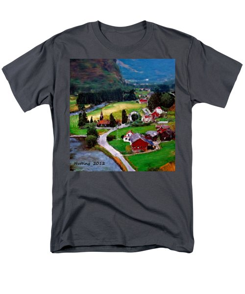 Men's T-Shirt  (Regular Fit) featuring the painting Village In The Mountains by Bruce Nutting
