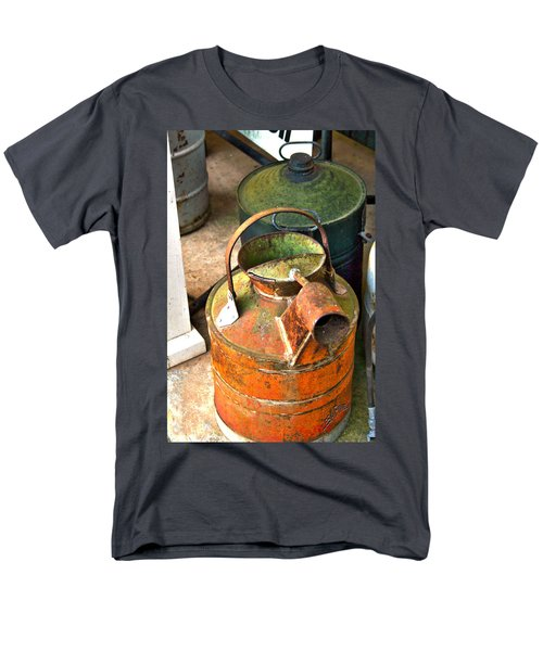 Men's T-Shirt  (Regular Fit) featuring the photograph Vintage Orange And Green Galvanized Containers by Lesa Fine