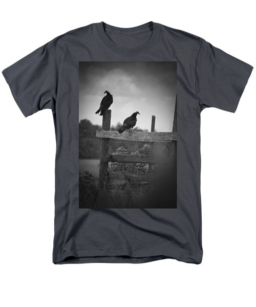 Men's T-Shirt  (Regular Fit) featuring the photograph Vultures On Fence by Bradley R Youngberg