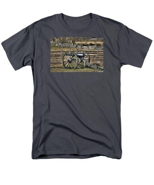 Men's T-Shirt  (Regular Fit) featuring the photograph War Thunder - 9th Michigan Btry 1st Michigan Light Artillery Battery I Hancock Ave Gettysburg by Michael Mazaika