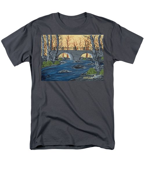 Men's T-Shirt  (Regular Fit) featuring the painting Water Under The Bridge by Brenda Brown